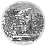 Village Schoolhouse, C1840 Round Beach Towel
