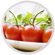 Vine Tomatoes On A Salad Plate Round Beach Towel