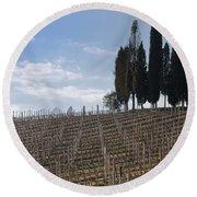 Vineyard With Cypress Trees Round Beach Towel