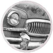 Vintage 1951 Nash Ambassador Front End 2 Bw Round Beach Towel