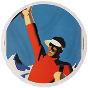 Vintage Austrian Skiing Travel Poster Round Beach Towel
