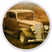 Vintage Automobile No.007 Round Beach Towel