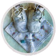 Vintage Baby Shoes And Diaper Pin On Handkercheif Round Beach Towel