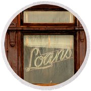 Vintage Bank Sign Round Beach Towel