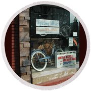 Vintage Bicycle And American Junk  Round Beach Towel