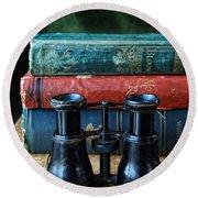 Vintage Binoculars And Books Round Beach Towel