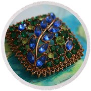Vintage Blue And Green Rhinestone Brooch On Watercolor Round Beach Towel