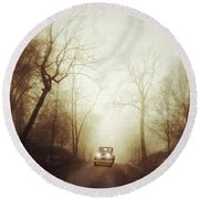 Vintage Car On Foggy Rural Road Round Beach Towel by Jill Battaglia