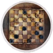 Vintage Checkers Game Round Beach Towel