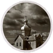 Vintage Church Round Beach Towel