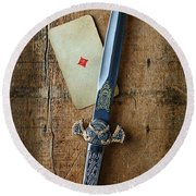 Vintage Dagger On Wood Table With Playing Card Round Beach Towel