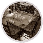 Vintage Domino Table Round Beach Towel