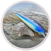 Vintage Fishing Lure - Floyd Roman Nike Blue And White Round Beach Towel