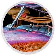 Vintage Frazer Front Window Auto Wreck Round Beach Towel