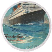 Vintage French Line Travel Poster Round Beach Towel