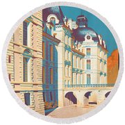 Vintage French Travel Poster Round Beach Towel