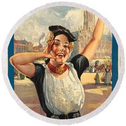 Vintage Holland Travel Poster Round Beach Towel