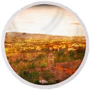 Vintage  Landscape Florence Italy Round Beach Towel