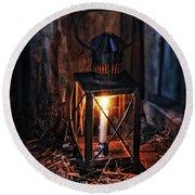 Vintage Lantern In A Barn Round Beach Towel by Jill Battaglia