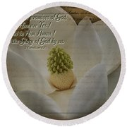 Vintage Magnolia With Verse Round Beach Towel