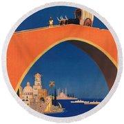 Vintage Mediterranean Travel Poster Round Beach Towel