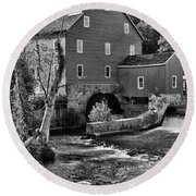 Vintage Mill In Black And White Round Beach Towel