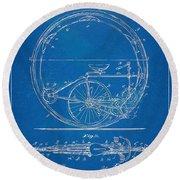 Vintage Monocycle Patent Artwork 1894 Round Beach Towel
