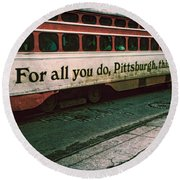 Vintage Pittsburgh Trolly Round Beach Towel