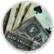 Vintage Playing Cards And Cash Round Beach Towel