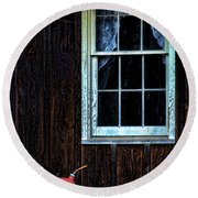 Vintage Porch Window And Gas Can Round Beach Towel