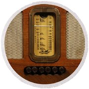Vintage Radio Round Beach Towel