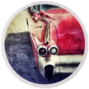 Vintage Red Car Round Beach Towel