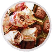 Vintage Roses And Chocolates Painterly Round Beach Towel