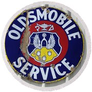 Vintage Sign Oldsmobile Service Round Beach Towel