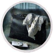 Vintage Suitcase On Brass Bed Round Beach Towel