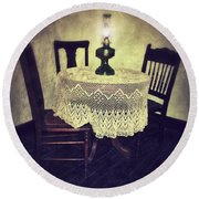 Vintage Table And Chairs By Oil Lamp Light Round Beach Towel by Jill Battaglia