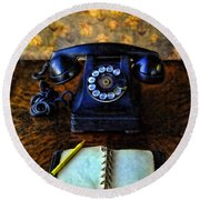 Vintage Telephone And Notepad Round Beach Towel