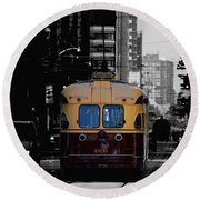 Vintage Trolley Round Beach Towel