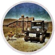 Vintage Vehicle At Vintage Gas Pumps Round Beach Towel by Jill Battaglia