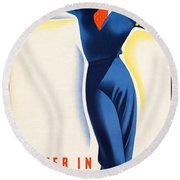 Vintage Winter In Austria Travel Poster Round Beach Towel