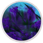 Violet Growth Round Beach Towel