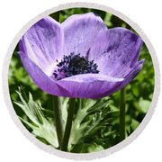 Violet Peace Round Beach Towel