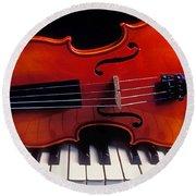 Violin On Piano Keys Round Beach Towel by Garry Gay