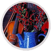 Violin With Blue Pot Round Beach Towel