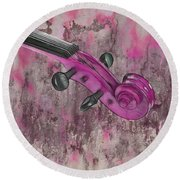 Violinelle - Pink 03b2 Round Beach Towel by Variance Collections