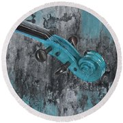 Violinelle - Turquoise 04d2 Round Beach Towel by Variance Collections