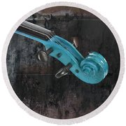 Violinelle - Turquoise 05a2 Round Beach Towel