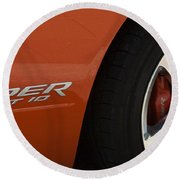 Viper Srt 10 Emblem And Wheel Round Beach Towel