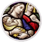 Virgin Mary And Baby Jesus Stained Glass Round Beach Towel