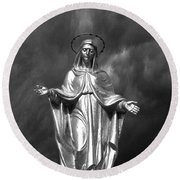 Virgin Mary And The Thunderstorm Bw Round Beach Towel